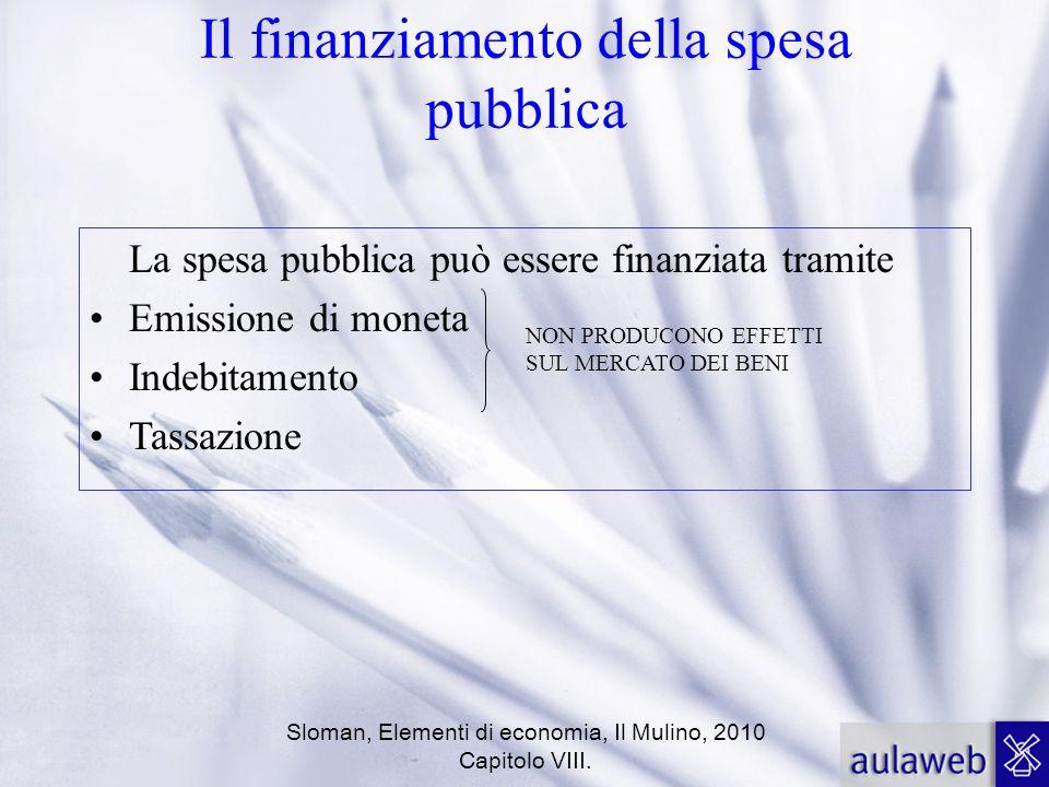 Sloman, Elementi di economia, Il Mulino, 2010 Capitolo VIII. Il finanziamento della spesa pubblica La spesa pubblica può essere finanziata tramite Emi
