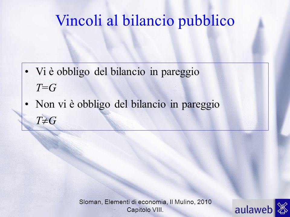 Sloman, Elementi di economia, Il Mulino, 2010 Capitolo VIII. Vincoli al bilancio pubblico Vi è obbligo del bilancio in pareggio T=GT=G Non vi è obblig