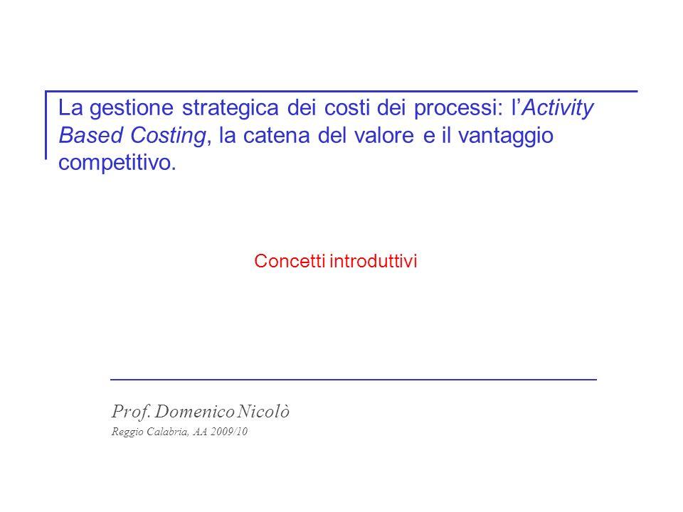 La gestione strategica dei costi dei processi: lActivity Based Costing, la catena del valore e il vantaggio competitivo.
