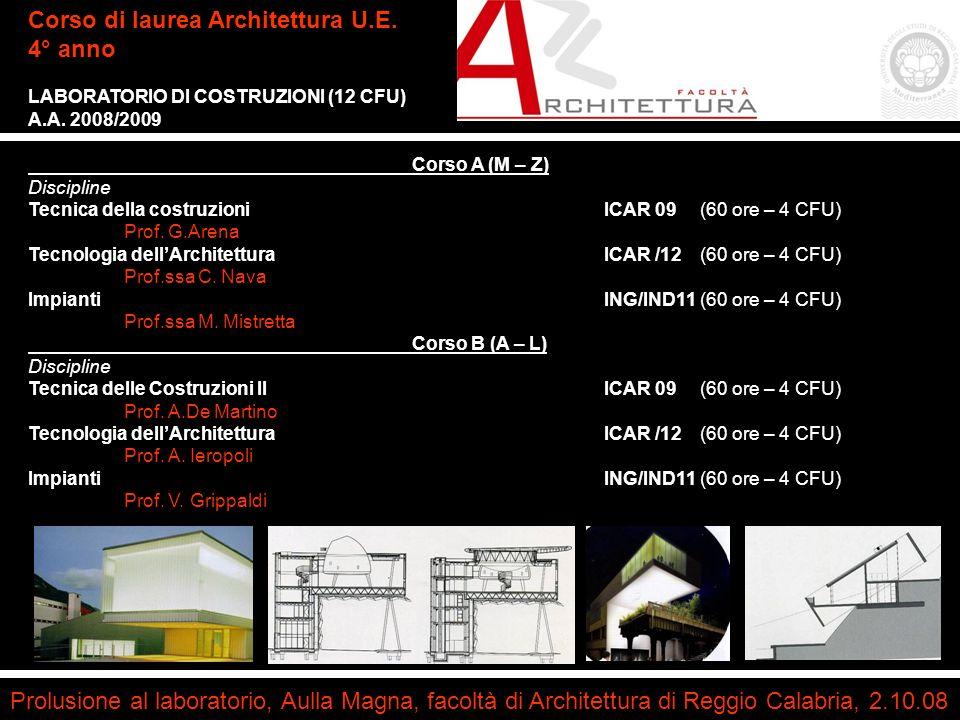 arch. Consuelo Nava Prolusione al laboratorio, Aulla Magna, facoltà di Architettura di Reggio Calabria, 2.10.08 Corso di laurea Architettura U.E. 4° a