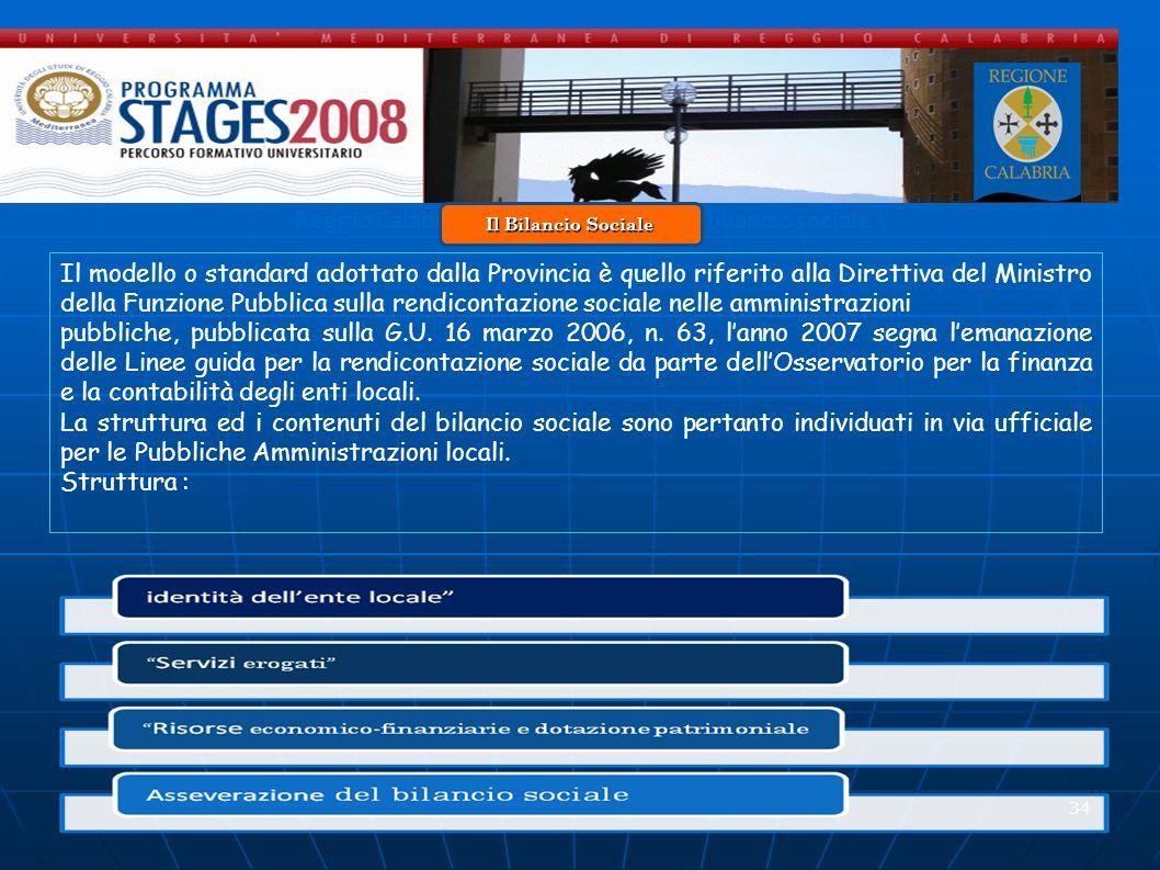 34 Reggio Calabria 20 Novembre 2008 - Il bilancio sociale Il modello o standard adottato dalla Provincia è quello riferito alla Direttiva del Ministro