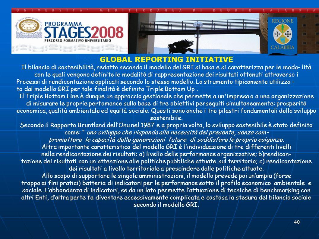 40 Reggio Calabria 20 Novembre 2008 - Il bilancio sociale GLOBAL REPORTING INITIATIVE Il bilancio di sostenibilità, redatto secondo il modello del GRI