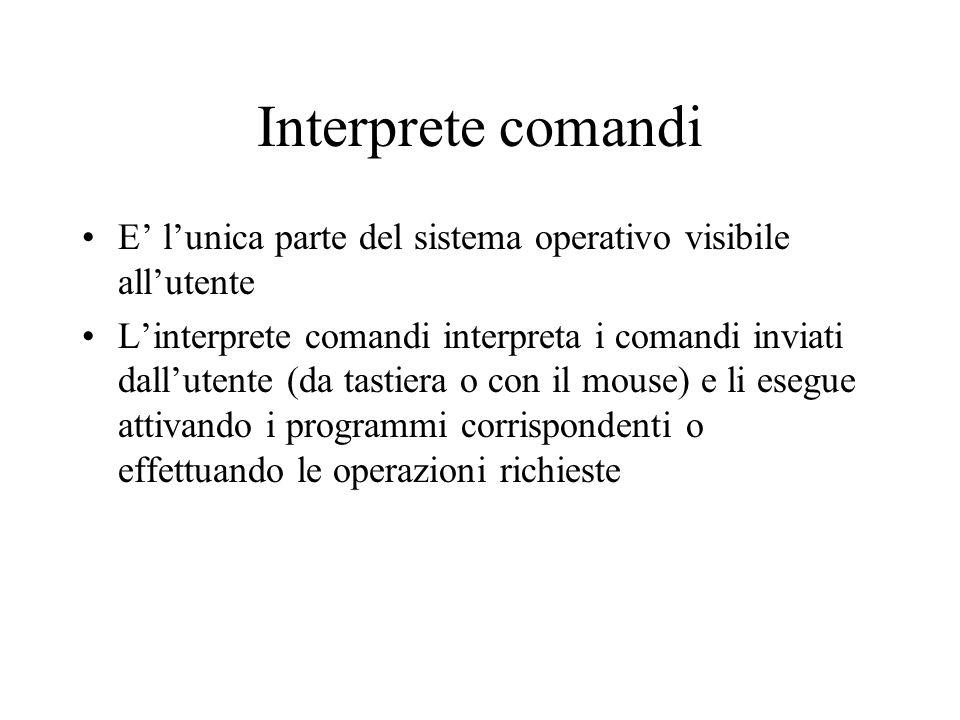 Interprete comandi E lunica parte del sistema operativo visibile allutente Linterprete comandi interpreta i comandi inviati dallutente (da tastiera o
