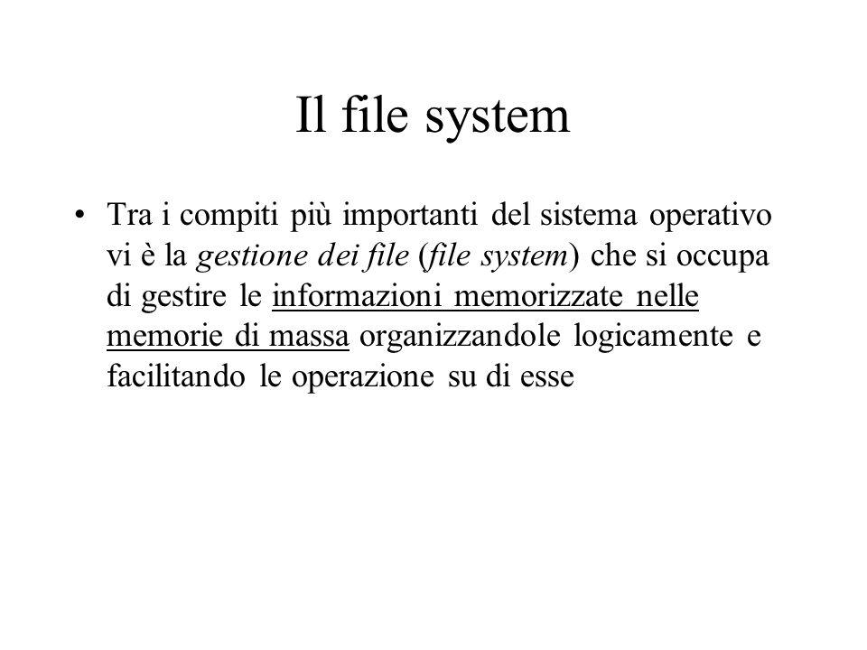 Il file system Tra i compiti più importanti del sistema operativo vi è la gestione dei file (file system) che si occupa di gestire le informazioni mem