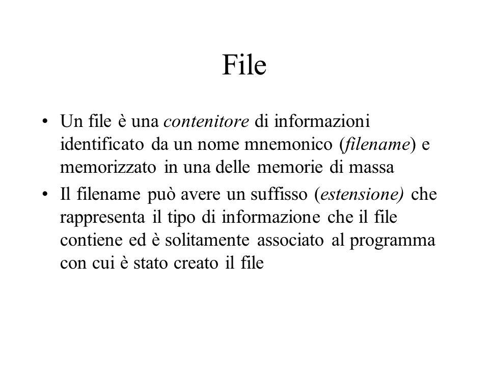File Un file è una contenitore di informazioni identificato da un nome mnemonico (filename) e memorizzato in una delle memorie di massa Il filename pu