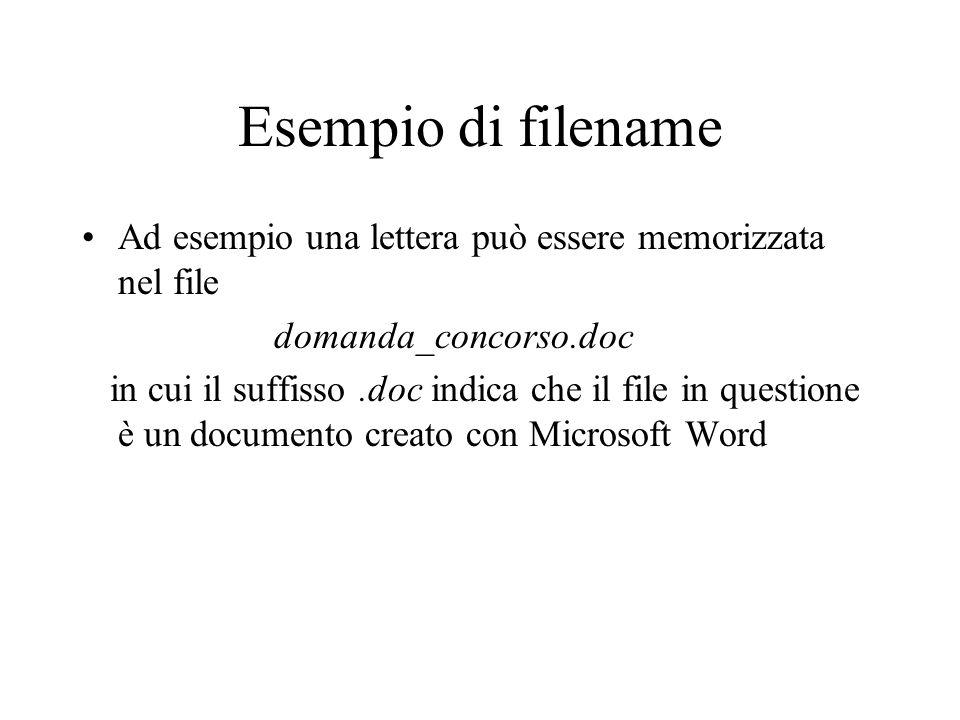 Esempio di filename Ad esempio una lettera può essere memorizzata nel file domanda_concorso.doc in cui il suffisso.doc indica che il file in questione