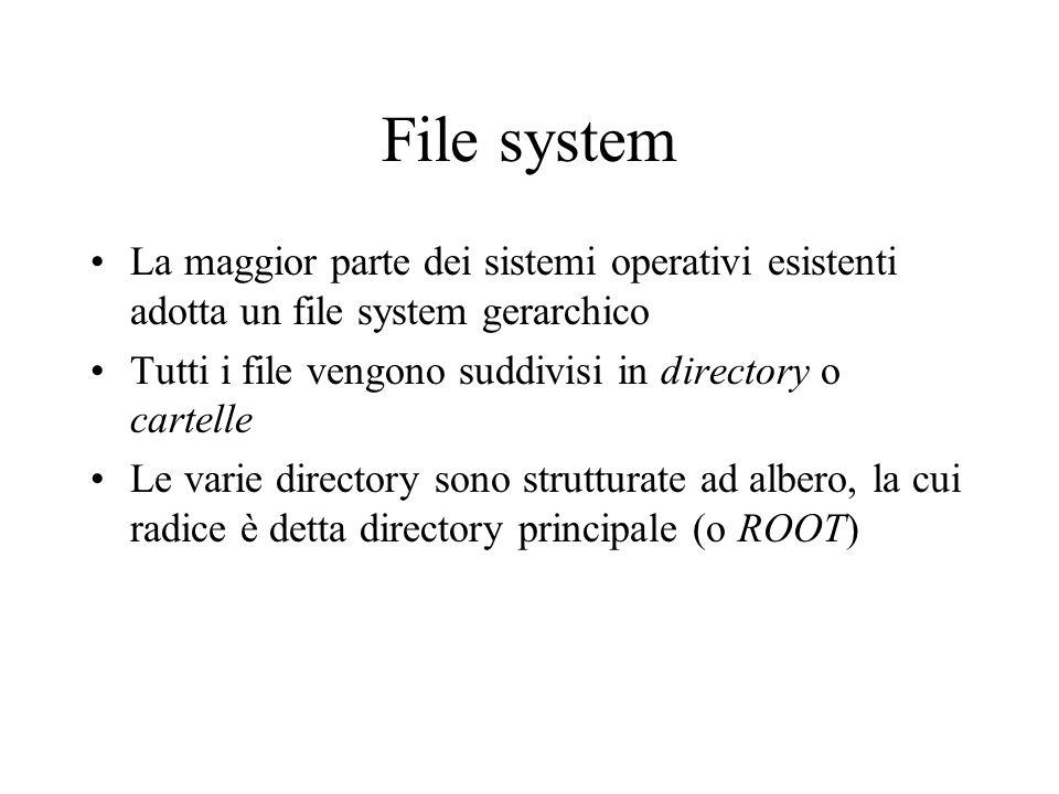File system La maggior parte dei sistemi operativi esistenti adotta un file system gerarchico Tutti i file vengono suddivisi in directory o cartelle L