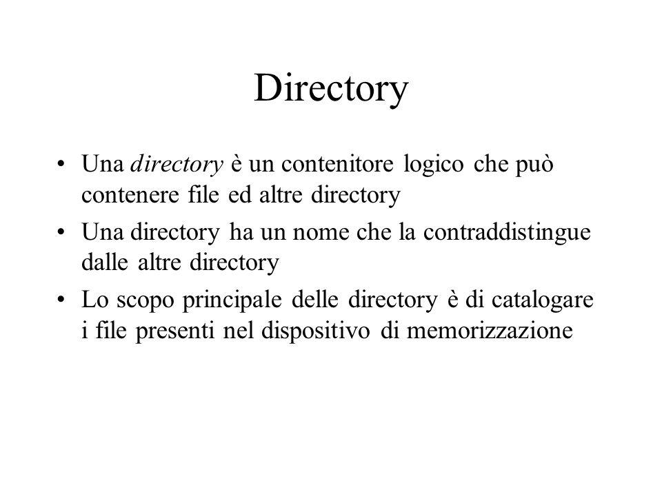 Directory Una directory è un contenitore logico che può contenere file ed altre directory Una directory ha un nome che la contraddistingue dalle altre