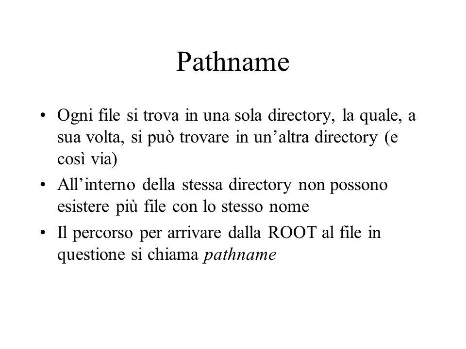 Pathname Ogni file si trova in una sola directory, la quale, a sua volta, si può trovare in unaltra directory (e così via) Allinterno della stessa dir