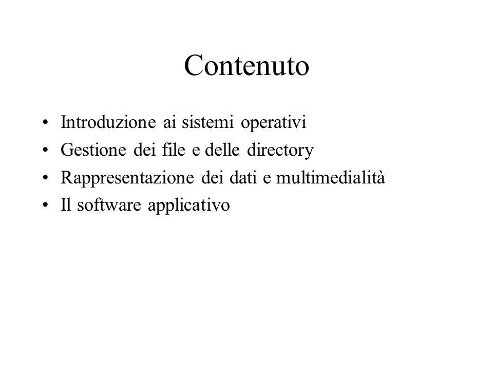 Contenuto Introduzione ai sistemi operativi Gestione dei file e delle directory Rappresentazione dei dati e multimedialità Il software applicativo
