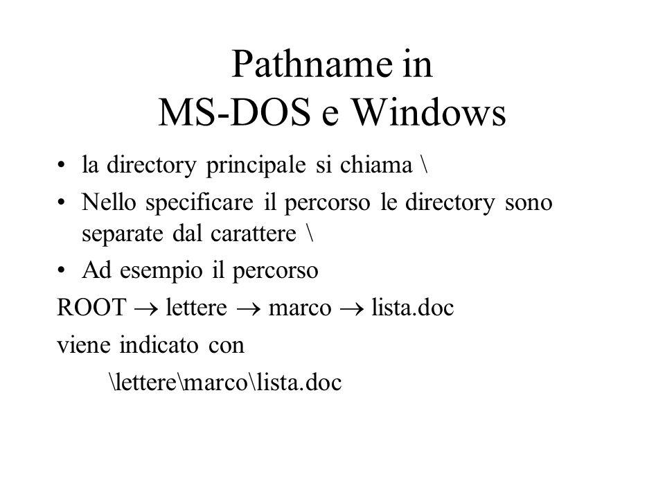 Pathname in MS-DOS e Windows la directory principale si chiama \ Nello specificare il percorso le directory sono separate dal carattere \ Ad esempio i