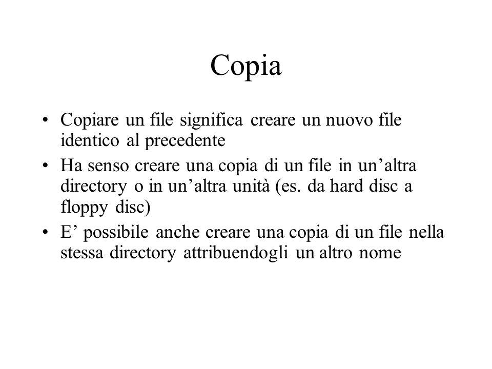 Copia Copiare un file significa creare un nuovo file identico al precedente Ha senso creare una copia di un file in unaltra directory o in unaltra uni