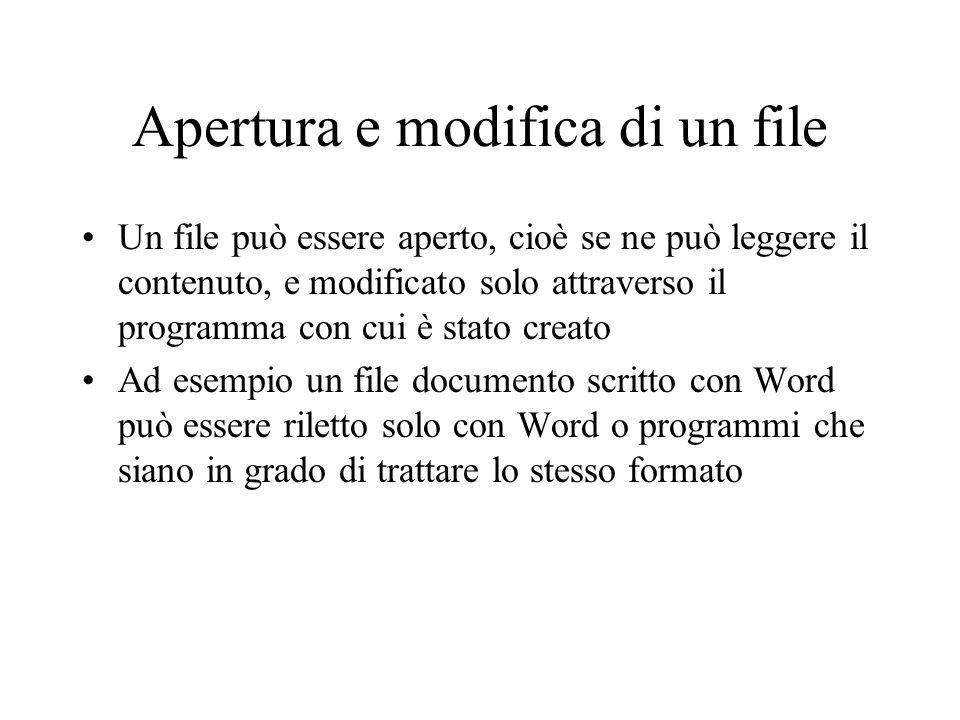 Apertura e modifica di un file Un file può essere aperto, cioè se ne può leggere il contenuto, e modificato solo attraverso il programma con cui è sta