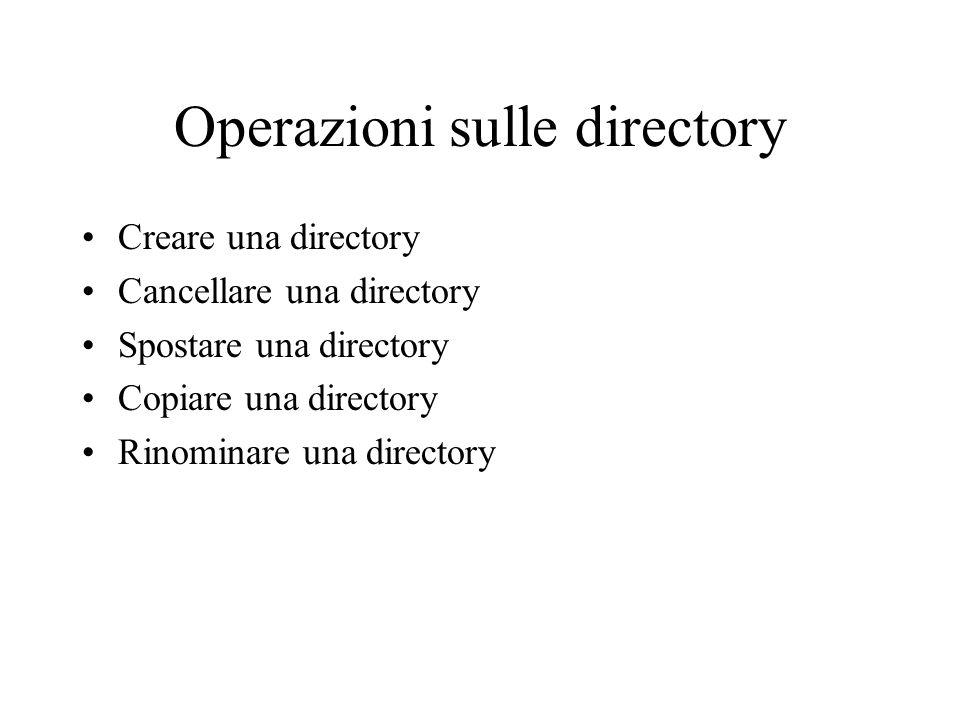Operazioni sulle directory Creare una directory Cancellare una directory Spostare una directory Copiare una directory Rinominare una directory