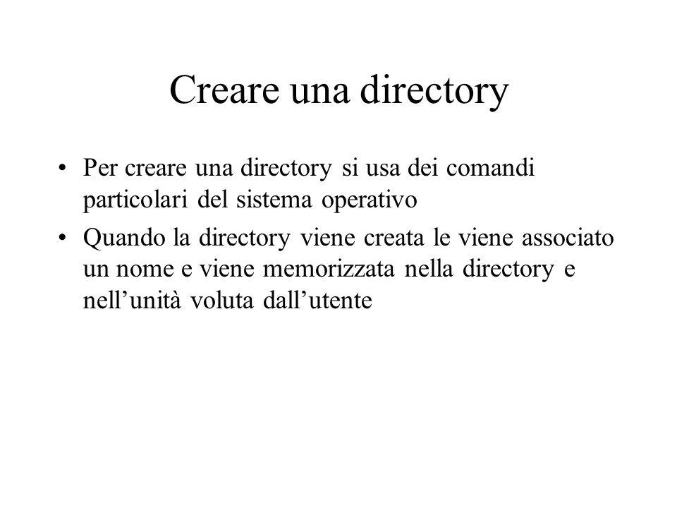 Creare una directory Per creare una directory si usa dei comandi particolari del sistema operativo Quando la directory viene creata le viene associato