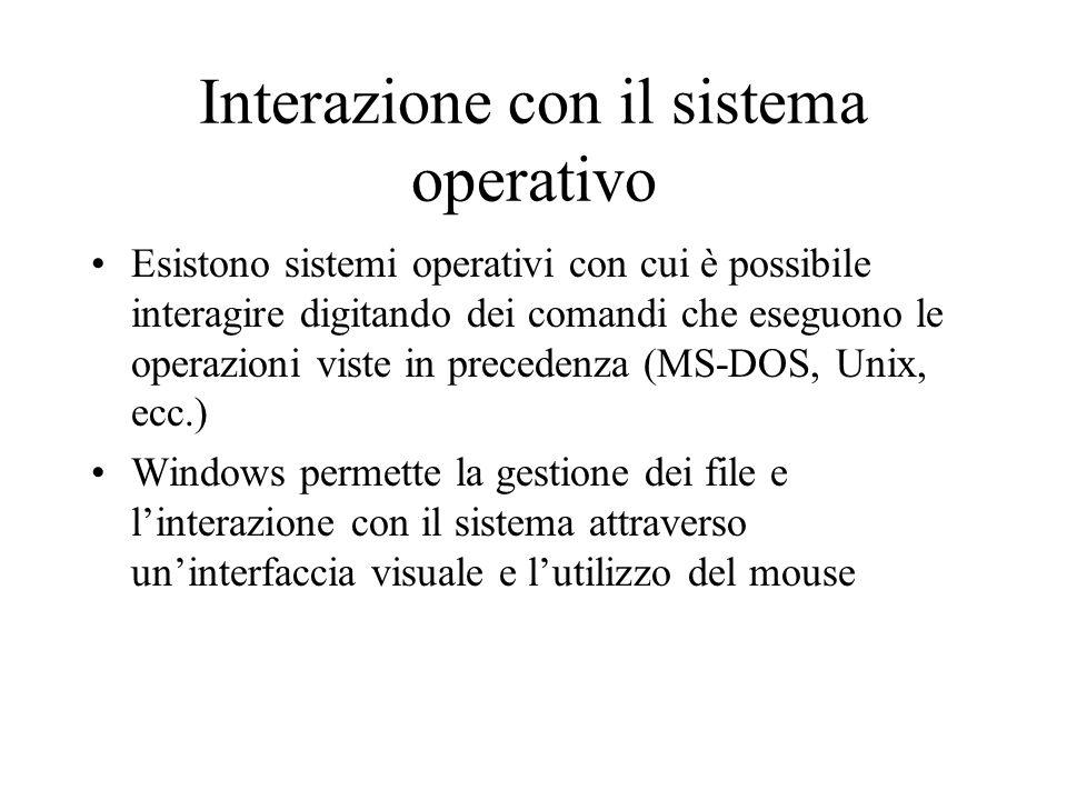 Interazione con il sistema operativo Esistono sistemi operativi con cui è possibile interagire digitando dei comandi che eseguono le operazioni viste