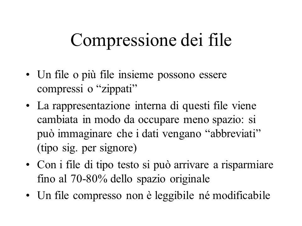 Compressione dei file Un file o più file insieme possono essere compressi o zippati La rappresentazione interna di questi file viene cambiata in modo