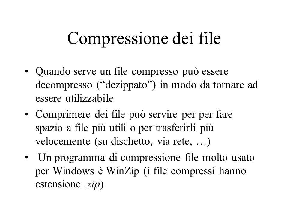 Compressione dei file Quando serve un file compresso può essere decompresso (dezippato) in modo da tornare ad essere utilizzabile Comprimere dei file