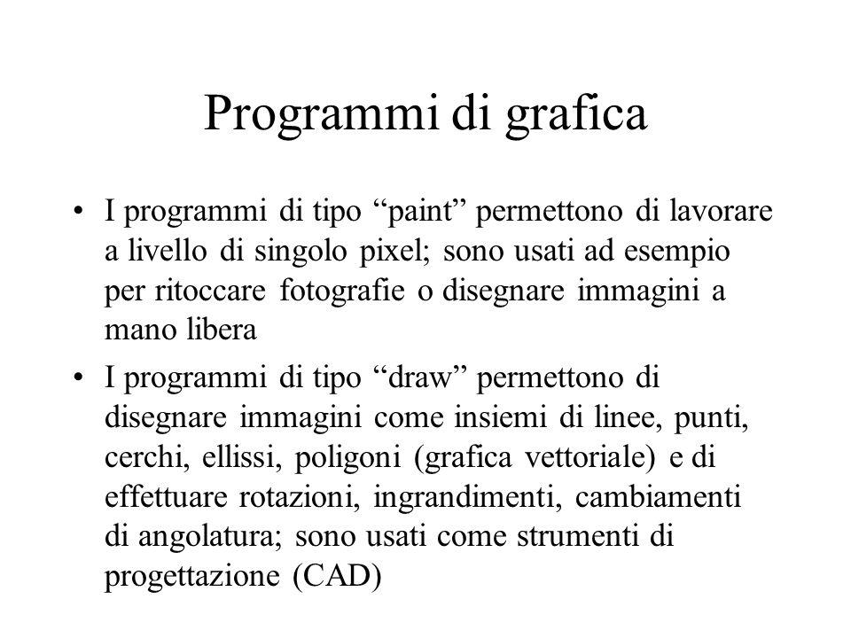 Programmi di grafica I programmi di tipo paint permettono di lavorare a livello di singolo pixel; sono usati ad esempio per ritoccare fotografie o dis