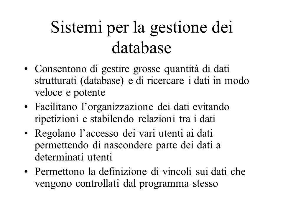 Sistemi per la gestione dei database Consentono di gestire grosse quantità di dati strutturati (database) e di ricercare i dati in modo veloce e poten