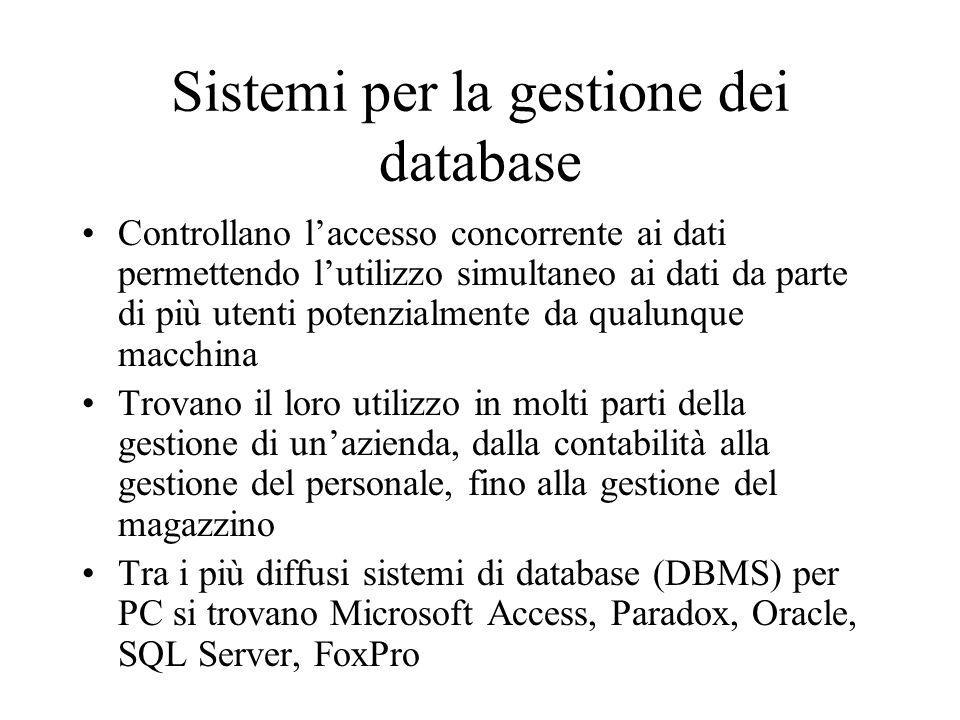 Sistemi per la gestione dei database Controllano laccesso concorrente ai dati permettendo lutilizzo simultaneo ai dati da parte di più utenti potenzia