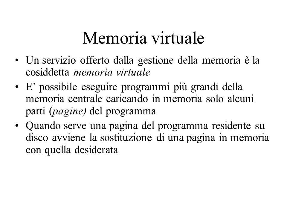 Memoria virtuale Un servizio offerto dalla gestione della memoria è la cosiddetta memoria virtuale E possibile eseguire programmi più grandi della mem