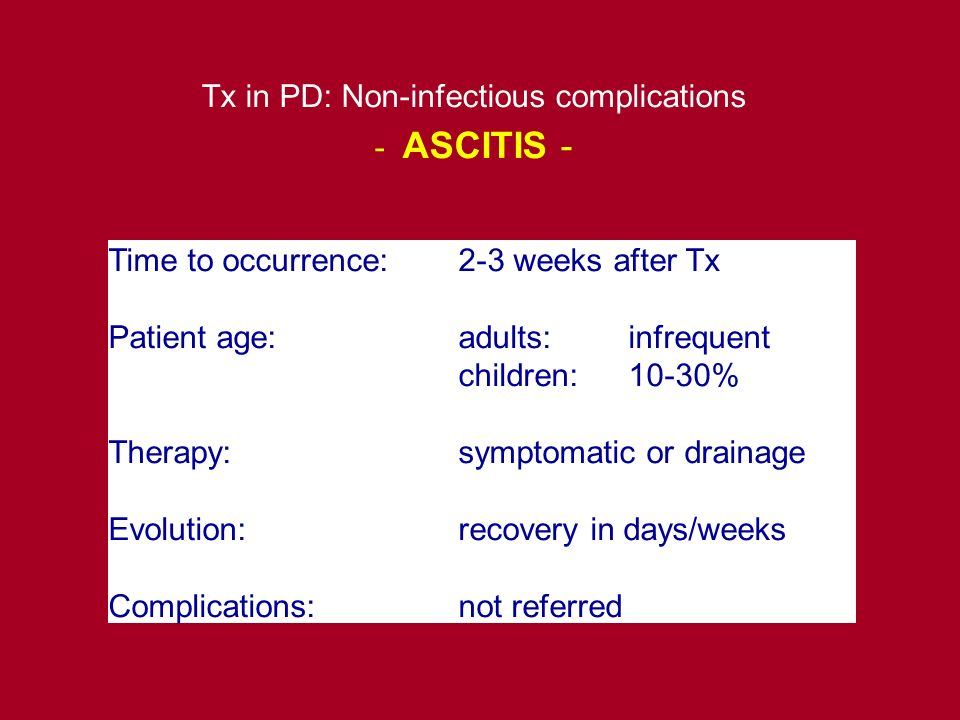 Time to occurrence:2-3 weeks after Tx Patient age:adults:infrequent children:10-30% Therapy:symptomatic or drainage Evolution:recovery in days/weeks C