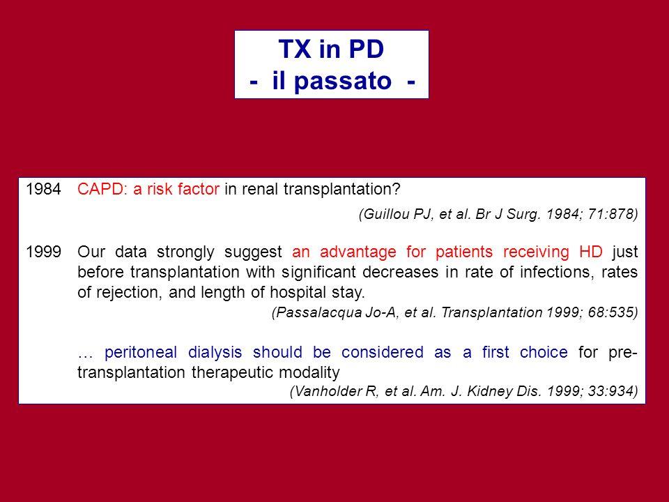 TX in PD - il passato - 1984 CAPD: a risk factor in renal transplantation? (Guillou PJ, et al. Br J Surg. 1984; 71:878) 1999 Our data strongly suggest