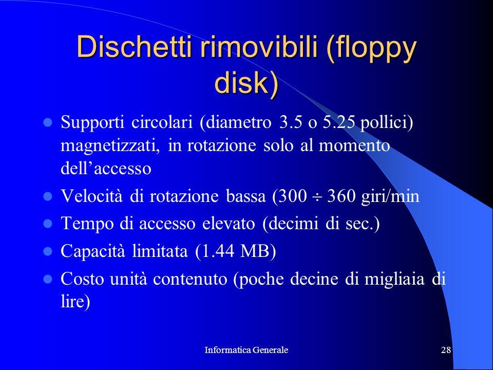 Informatica Generale28 Dischetti rimovibili (floppy disk) Supporti circolari (diametro 3.5 o 5.25 pollici) magnetizzati, in rotazione solo al momento
