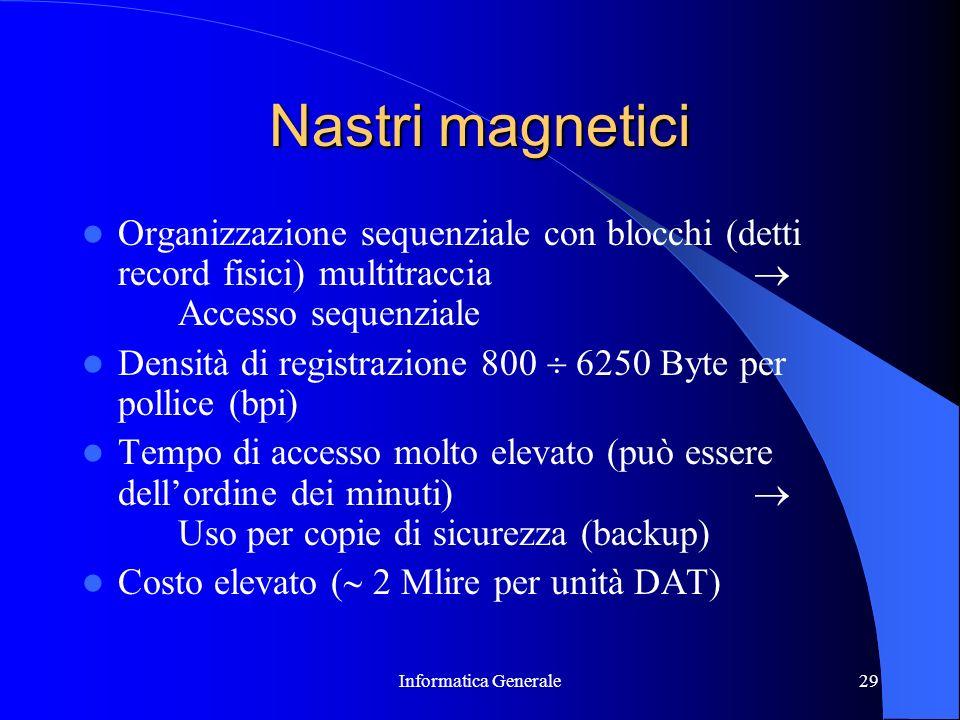 Informatica Generale29 Nastri magnetici Organizzazione sequenziale con blocchi (detti record fisici) multitraccia Accesso sequenziale Densità di regis