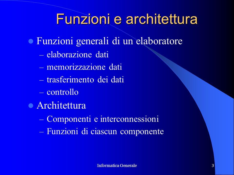 Informatica Generale3 Funzioni e architettura Funzioni generali di un elaboratore – elaborazione dati – memorizzazione dati – trasferimento dei dati –