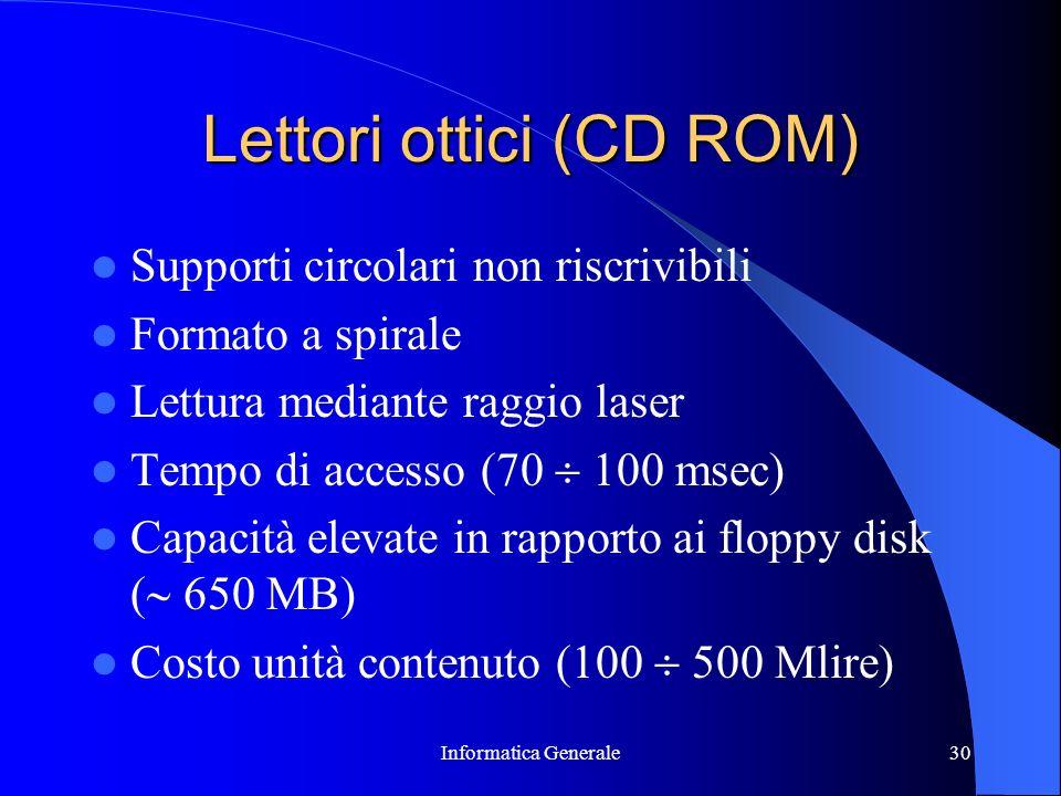 Informatica Generale30 Lettori ottici (CD ROM) Supporti circolari non riscrivibili Formato a spirale Lettura mediante raggio laser Tempo di accesso (7