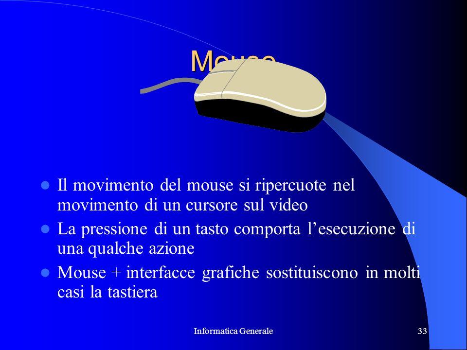 Informatica Generale33 Mouse Il movimento del mouse si ripercuote nel movimento di un cursore sul video La pressione di un tasto comporta lesecuzione