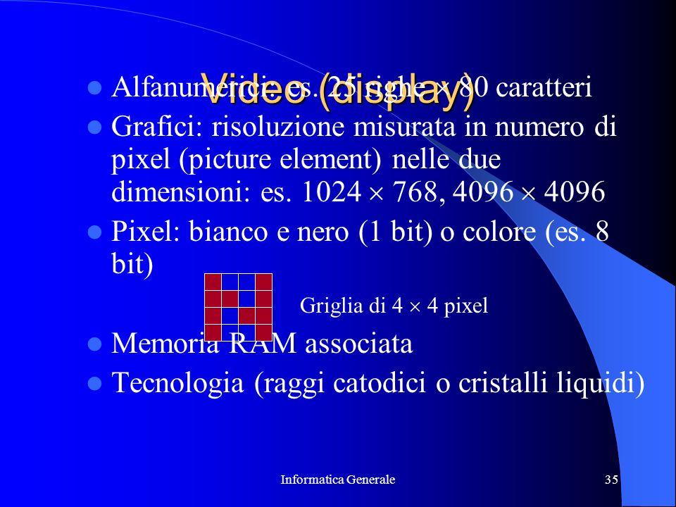 Informatica Generale35 Video (display) Alfanumerici: es. 25 righe 80 caratteri Grafici: risoluzione misurata in numero di pixel (picture element) nell