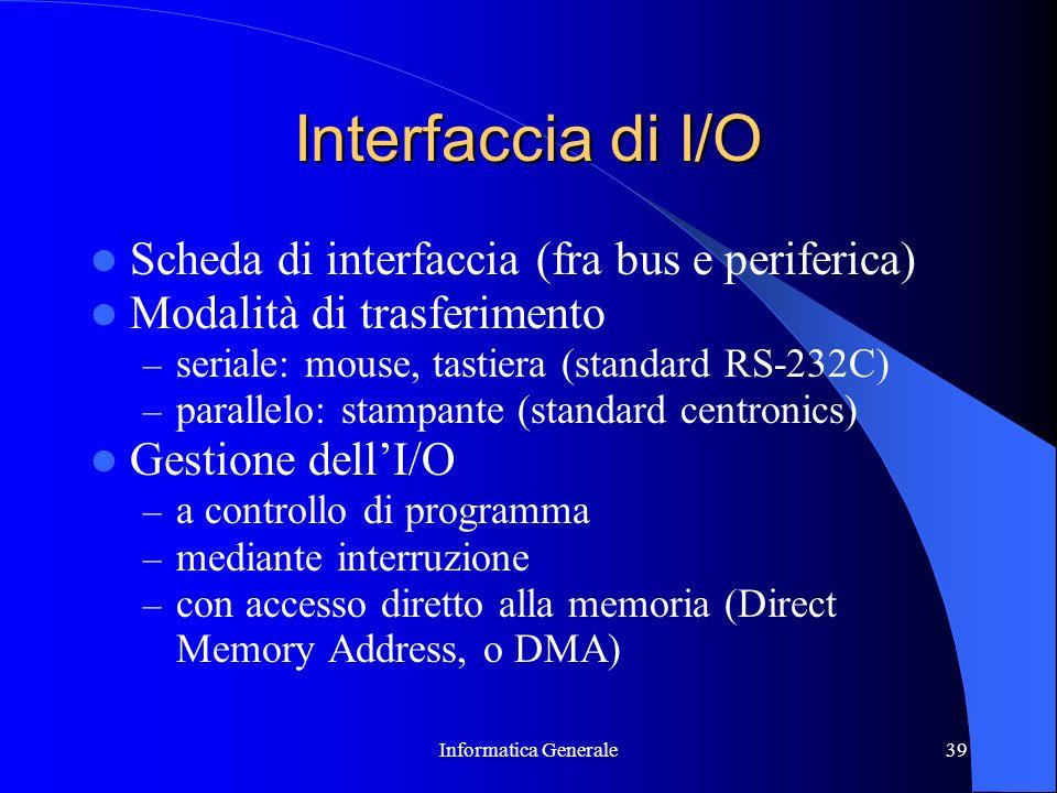 Informatica Generale39 Interfaccia di I/O Scheda di interfaccia (fra bus e periferica) Modalità di trasferimento – seriale: mouse, tastiera (standard