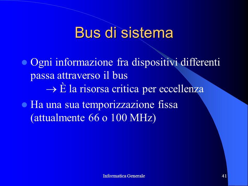 Informatica Generale41 Bus di sistema Ogni informazione fra dispositivi differenti passa attraverso il bus È la risorsa critica per eccellenza Ha una