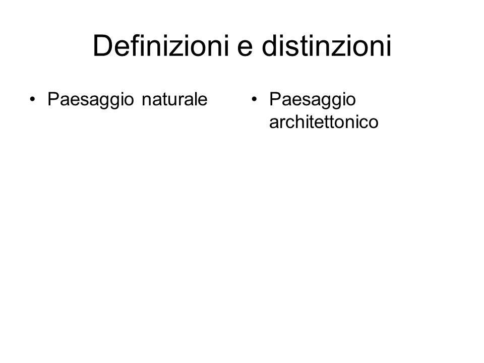 Definizioni e distinzioni Paesaggio naturale Paesaggio architettonico