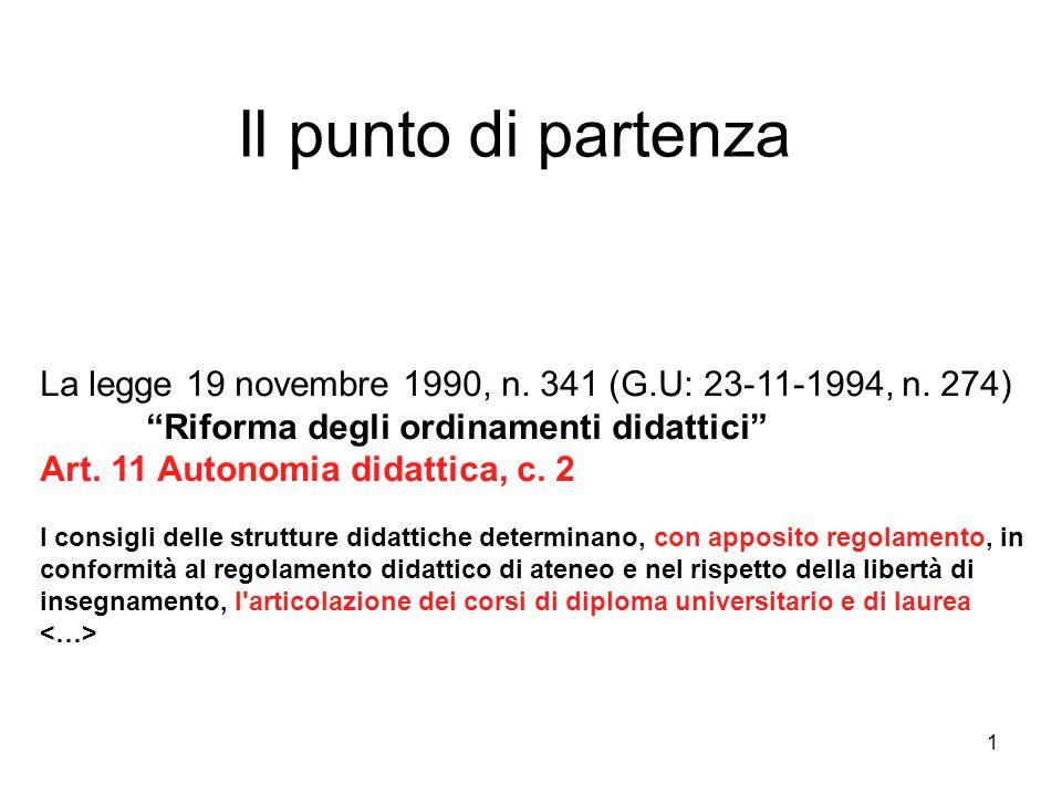 1 Il punto di partenza La legge 19 novembre 1990, n.