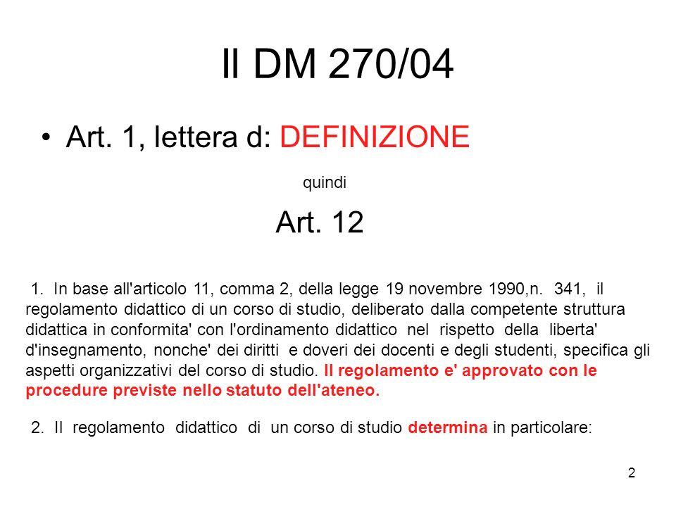 2 Il DM 270/04 Art. 1, lettera d: DEFINIZIONE quindi 1.