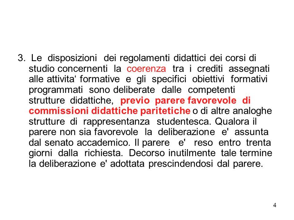 4 3. Le disposizioni dei regolamenti didattici dei corsi di studio concernenti la coerenza tra i crediti assegnati alle attivita formative e gli speci