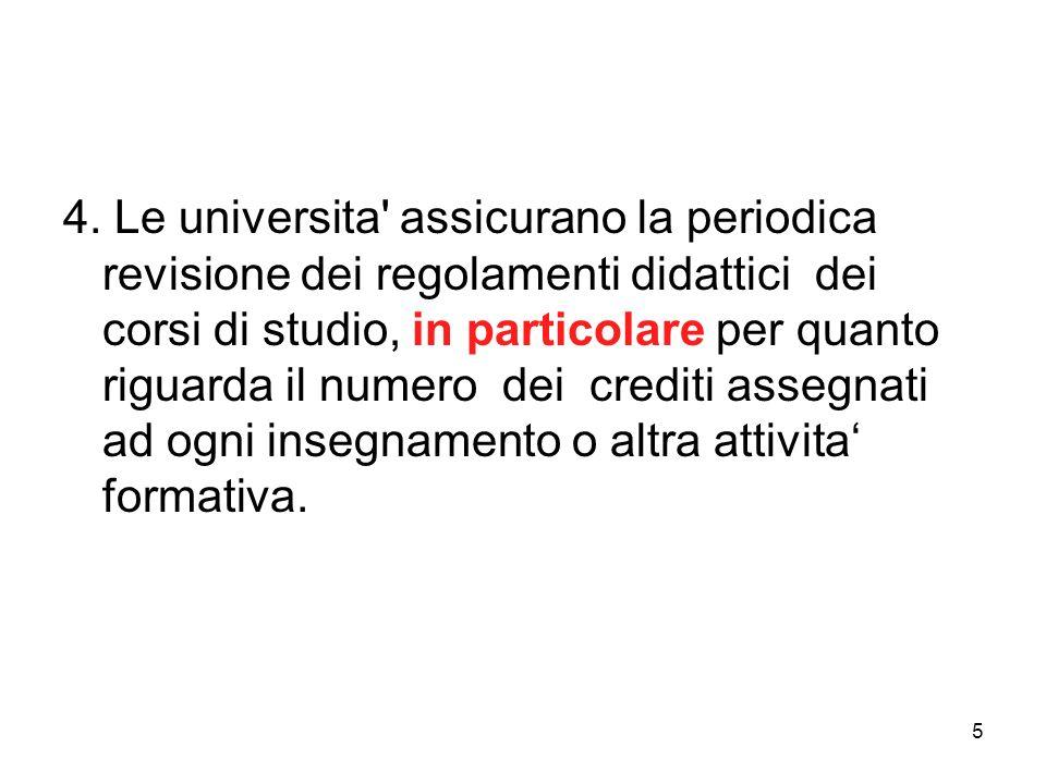 5 4. Le universita' assicurano la periodica revisione dei regolamenti didattici dei corsi di studio, in particolare per quanto riguarda il numero dei