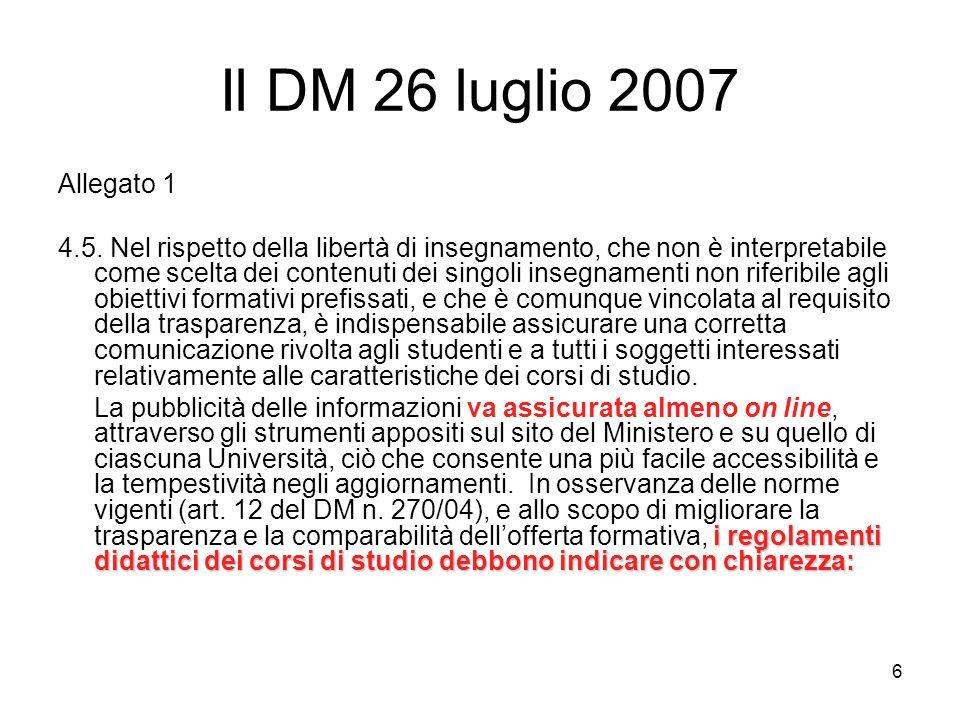 6 Il DM 26 luglio 2007 Allegato 1 4.5.