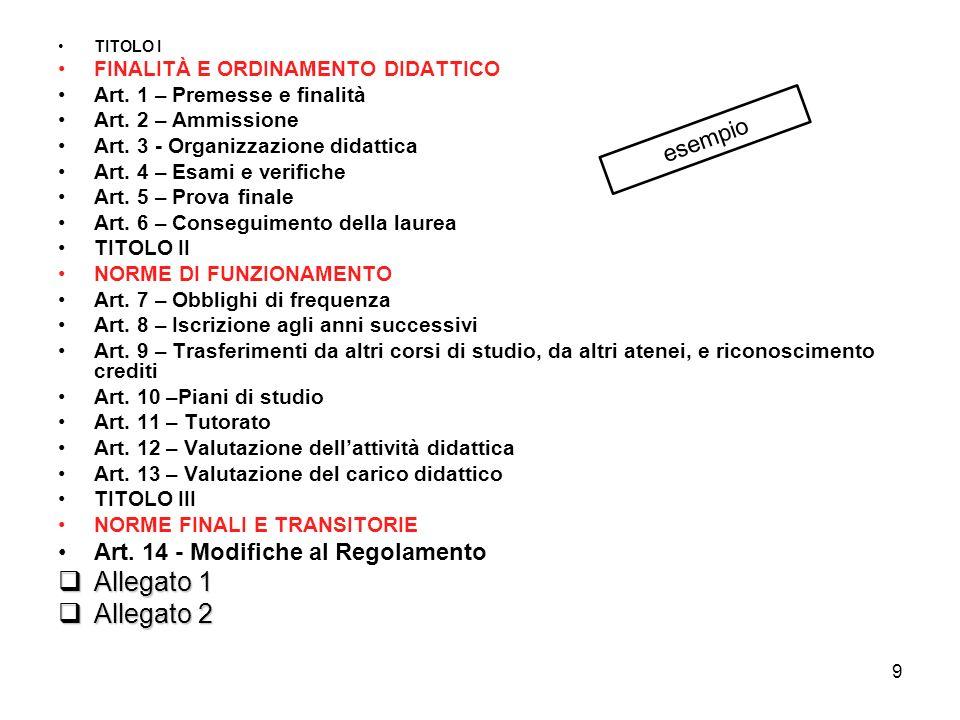 9 TITOLO I FINALITÀ E ORDINAMENTO DIDATTICO Art. 1 – Premesse e finalità Art.