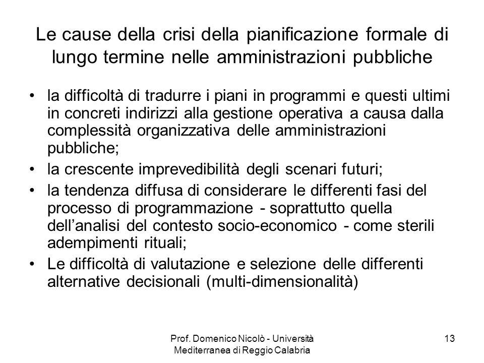 Prof. Domenico Nicolò - Università Mediterranea di Reggio Calabria 13 Le cause della crisi della pianificazione formale di lungo termine nelle amminis