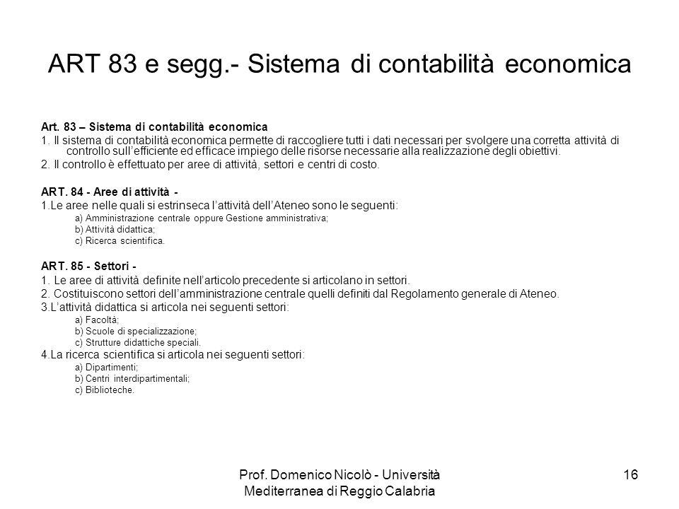 Prof. Domenico Nicolò - Università Mediterranea di Reggio Calabria 16 ART 83 e segg.- Sistema di contabilità economica Art. 83 – Sistema di contabilit