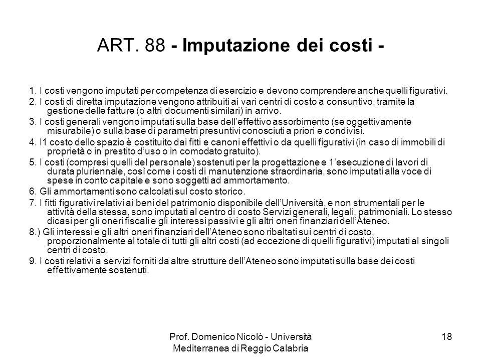 Prof. Domenico Nicolò - Università Mediterranea di Reggio Calabria 18 ART. 88 - Imputazione dei costi - 1. I costi vengono imputati per competenza di