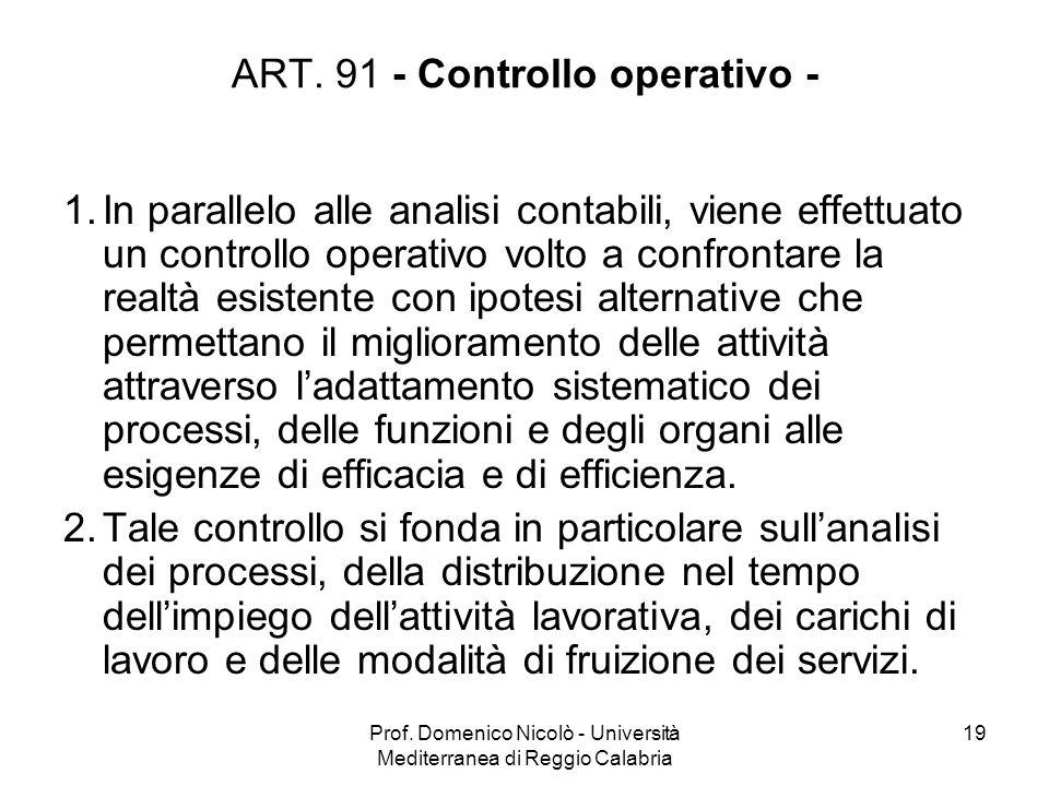 Prof. Domenico Nicolò - Università Mediterranea di Reggio Calabria 19 ART. 91 - Controllo operativo - 1.In parallelo alle analisi contabili, viene eff