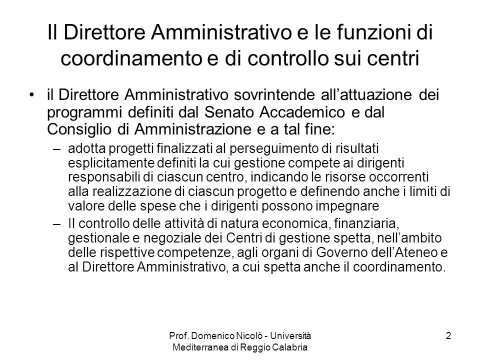 Prof. Domenico Nicolò - Università Mediterranea di Reggio Calabria 2 Il Direttore Amministrativo e le funzioni di coordinamento e di controllo sui cen