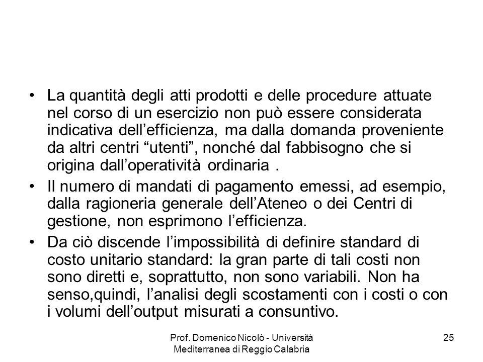 Prof. Domenico Nicolò - Università Mediterranea di Reggio Calabria 25 La quantità degli atti prodotti e delle procedure attuate nel corso di un eserci
