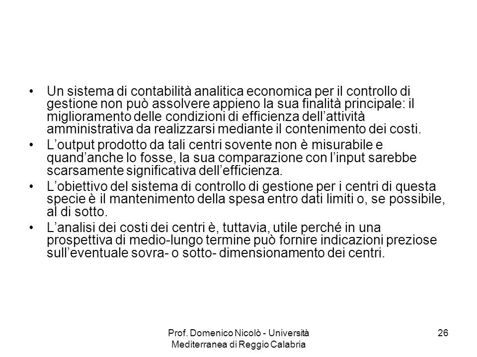 Prof. Domenico Nicolò - Università Mediterranea di Reggio Calabria 26 Un sistema di contabilità analitica economica per il controllo di gestione non p